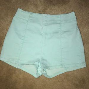 Tiffany blue high-waisted shorts